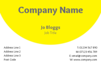 An attractive yet simple business card design with an eye catching yellow and white background.