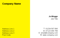 A bright yellow and white background on this business card template.