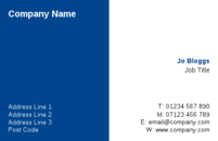A simple business card template with a blue and white background for those of you who want a no fuss design.