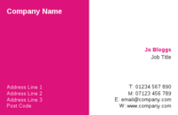 A simple pink and white background on the business card template for a no nonsense design suitable for any business.