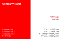 A straightforward simple business card template with a red and white background.