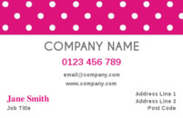 A simple but pretty business card design with white polka dots against a pink background.