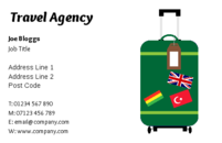 A business card with an image of a suitcase, suitable for travel agents and the tourism industry.