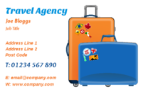 A business card design containing luggage and used by travel agencies
