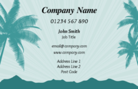 A business card design showing a tropical paradise with palm trees and the ocean in the background to promote your travel business. Ideal for those in the travel and tourism industry.
