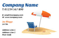 If you want to promote your travel business, this travel and tourism business card template could certainly help. The image of a beach chair and umbrella on your business cards, not only make the business card design look unique, but it also will certainly get the message across about what you do.