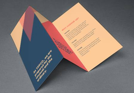 Buy beautiful folded leaflets which can be used in corporate literature, menus etc